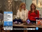 HSN TV Presenter in red satin blouse